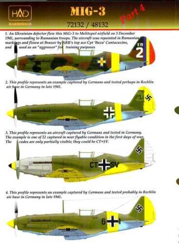 Hungarian Aero Decals 1//48 MIKOYAN MiG-3 Fighter German /& Romanian Service