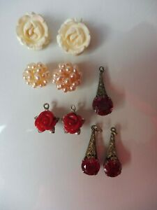 Convolute-old-Jewellery-Incomplete-Earrings-Blossoms-Pearls-Stones