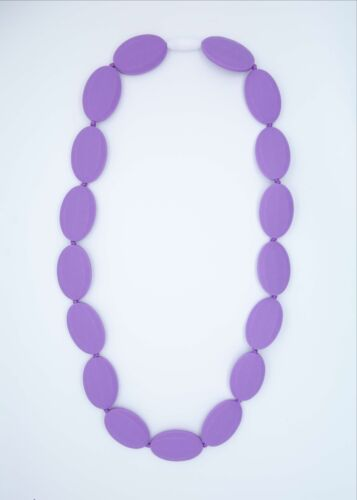 Purple Oval Silicone Teething Nursing Breastfeeding Necklace Chewable Beads 3402