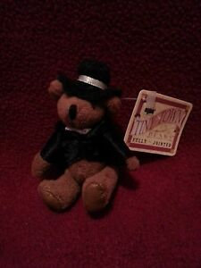 "RUSS TINY TOWN BEAR Groom Dapper 3-1/4"" Miniature Teddy JOINTED w/tag Many Avail"