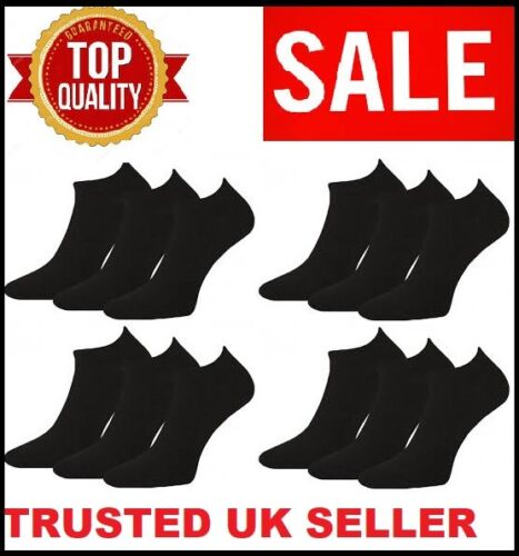 12 Pairs Men/'s Plain Trainer Socks Boot Ankle Footwear Black Uk Size 6-11 BYZBL