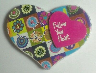 FOLLOW YOUR HEART PATCH FLOWER FLORAL RAISED LOVE STAR WOOD MAGNET