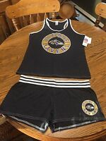 Baltimore Ravens Nfl Women's Pajama Tank Top & Shorts Sleepwear Set Medium -