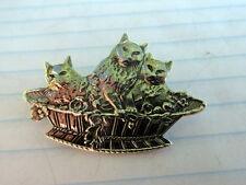 "Vintage 925 Sterling Silver 1"" Kitty Kittens Cats In Basket Pin Brooch Pet Tabby"