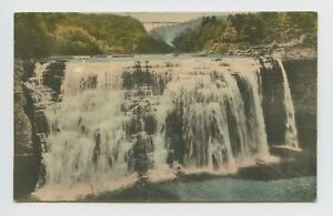 Letchworth-State-Park-NY-Middle-Falls-Up-Close-Hand-Colored-Postcard-1of4-A