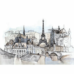 France-Ink-Drawing-Paris-Large-Wall-Art-Print-18X24-In