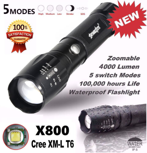 4000LM Zoomable XML T6 LED 5 modes  Lampe de Poche Torch Flashlight 18650