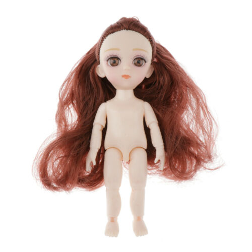 Mini 16cm 13 Joints Nude Girl Doll Body Models DIY Accessory Dark Brown Hair