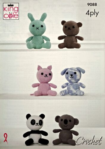 CROCHET PATTERN 6 Amigurumi Animals Stuffed Toys PATTERN 4ply King Cole 9088
