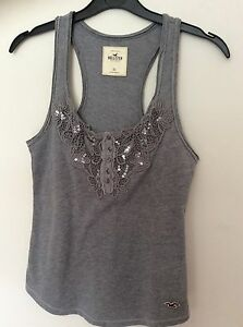 New-Ladies-Hollister-Grey-Beaded-Vest-Top-Size-X-Small-6-8
