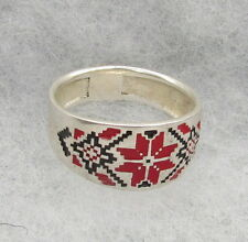 Ukrainian Embroidery Star-Alatyr Style Ster. Silver Ring,Red&Black Enamel,Size 9