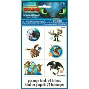 How-To-Train-Your-Dragon-Temporary-Tattoos-24-Pack-Party-Bag-Fillers-BNIP