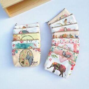 Mini-Women-Wallet-Key-Holder-Animal-Printed-Change-Pouch-Canvas-Coin-Purse