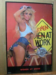 Vintage REAR View Car Garage poster man cave hot girl 1986 13353