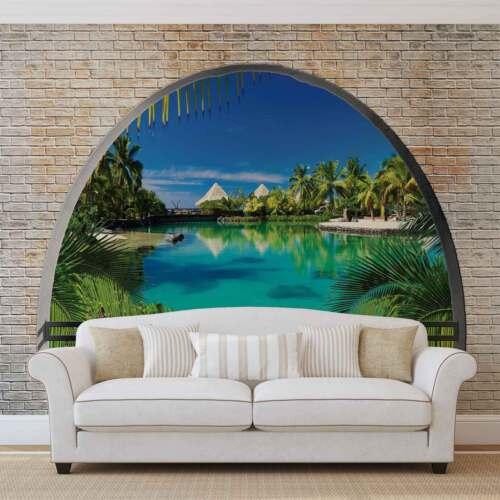 La Plage île tropicale fenêtre nappes papier peint Papier peint mural 2841dk