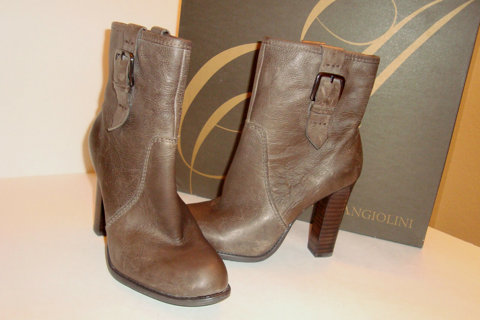 Enzo Angiolini Womens NWB Kaspi Brown Leather Ankle Boots Shoes 5.5 MED NEW