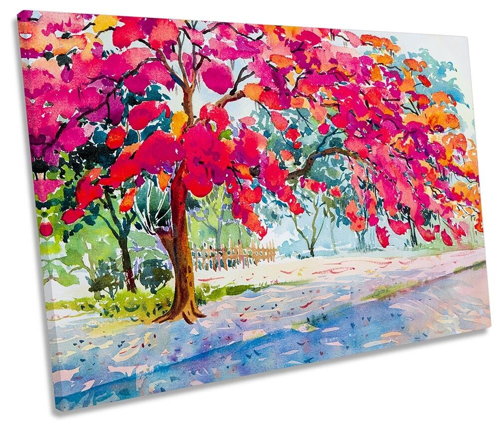 rot Floral Tree Autumn Framed SINGLE CANVAS PRINT Wall Art