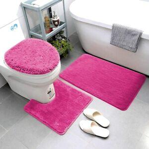 3 Piece Bathroom Rug Set Super Soft Microfiber Non Slip Bath Rugs Hot Pink Ebay