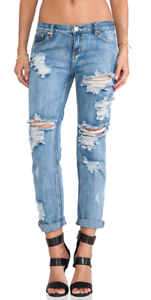 138.00 ONE TEASPOON AWESOME BAGGIES IN COBAIN 30 RIPS HOLES DISTRESSED