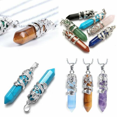 Natural Quartz Crystal Chakra Hexagonal Pendant Healing Point Reiki Necklaces