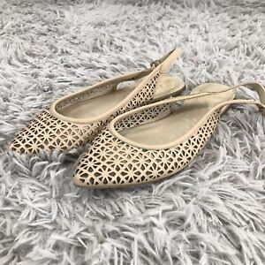 Vince-Camuto-Fallina-Slingback-Flats-Womens-6-M-Beige-Leather-Laser-Cut-Shoe