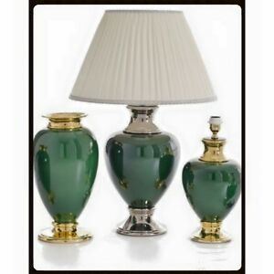 Wunderschoene-Tischlampe-Lamp-Gruen-Goldlegierung-Handarbeit-aus-Italien