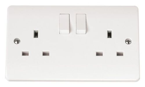 2 Gang 13A SocketClick CMA036 White Switched Electrical Wall Outlet