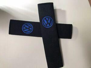 Embroidered-Vw-Universal-Seat-Belt-Shoulder-Pads-Pair-Black-amp-Blue-Logo