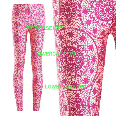 Pink & Yelow cream mandalas leggings - 8-18 UK  yoga ethnic hippy geometric boho