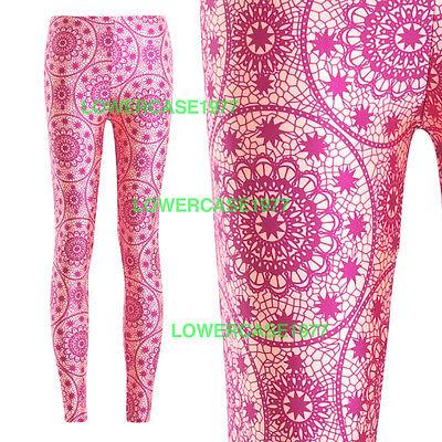Pink & Yelow cream mandalas leggings - 8-18 UK  yoga ethnic hippy geometric boho