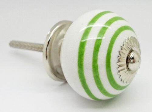Striped Coloured Ceramic Door Knobs Drawer Pulls Cupboard Kitchen Handle 4505