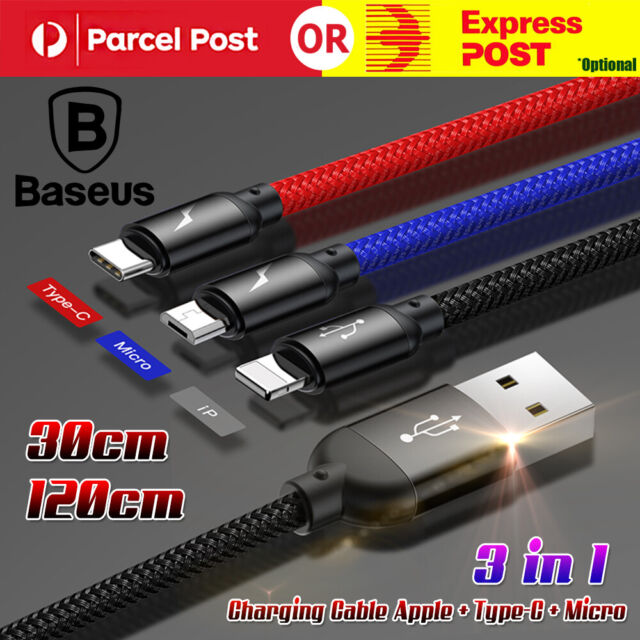 Baseus 3 in 1 Charging Cable For Apple+Type-C + Micro USB Data Sync Braided Cord