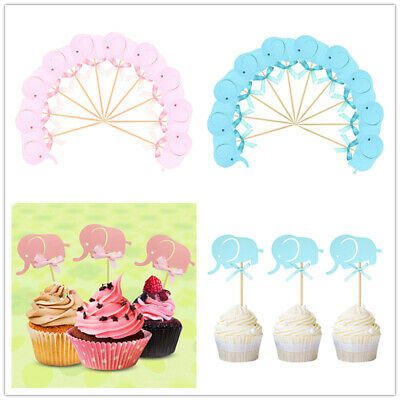 10 x Cute Blue Baby Boy Elephant Cake Picks Cupcake Toppers Flags Baby Shower