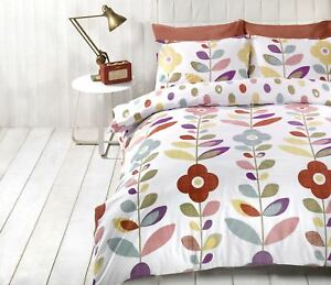 BRIGHT-FLORAL-OVAL-POLKA-DOT-RED-COTTON-BLEND-DOUBLE-DUVET-COVER