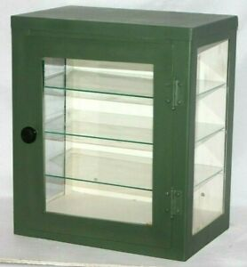 Details About ANTIQUE METAL U0026 GLASS WALL OR COUNTERTOP APOTHECARY MEDICINE  DISPLAY CABINET.