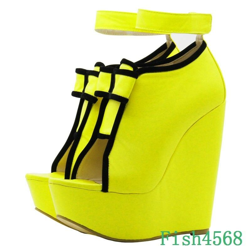 Sexy Womens Platform High Wedge Heels Peep Toes Ankle Buckle Pumps Sandals Shoes