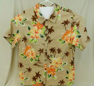 White-Stag-Women-039-s-Plus-Size-22W-24W-Linen-Blend-Floral-Button-Front-Shirt