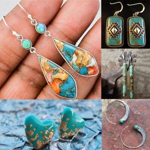 Charm-Bohemian-Dangle-Ear-Stud-Turquoise-Hook-Earrings-925-Silver-Jewelry