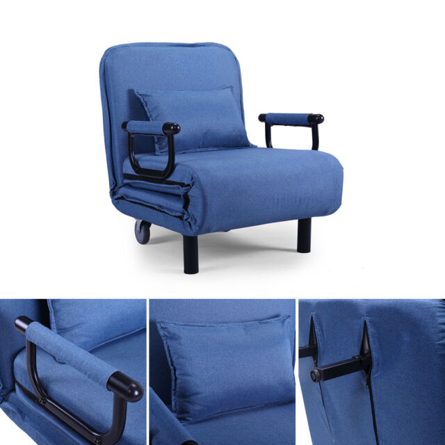 Astounding Sofa Bed Arm Chair Convertible Single Dorm Couch Recliner Sleeper Folding Blue Dailytribune Chair Design For Home Dailytribuneorg