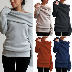 Women-039-s-Off-Shoulder-Cowl-Neck-Sweater-Jumper-Long-Sleeve-Casual-Pullover-Tops