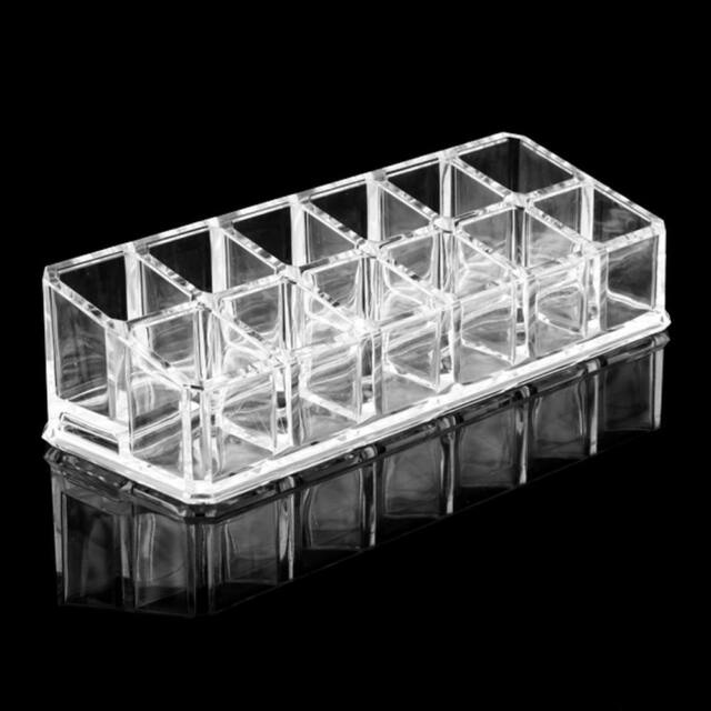 Clear Acrylic 12 Lipstick Holder Display Stand Cosmetic Organizer Makeup Case