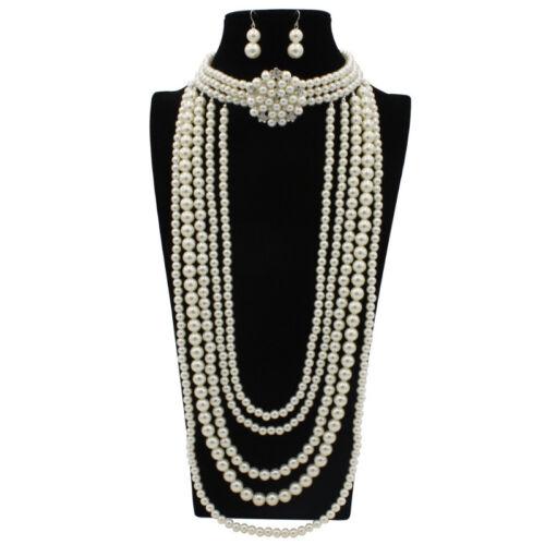 Women Jewellery Necklace Resin Pearl Cluster Chunky Choker Statement Bib Chunky