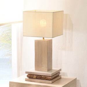 Tischlampe Eco Weiss Tischleuchte Nachttischlampe Leuchte Lampe Holz