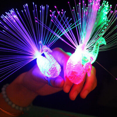 Plastic Creative Child Peacock LED Fiber Finger Night Light Party Toy Gift New