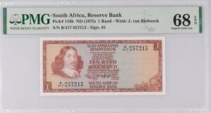 South Africa 1 RAND ND 1975 P 116 b SIGN # 5 Superb GEM UNC PMG 68 EPQ TOP POP