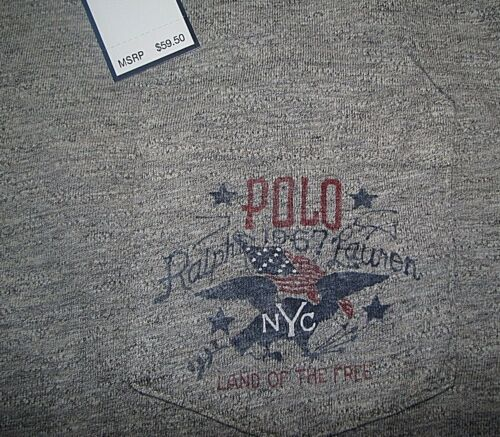 Men/'s $60 L POLO-RALPH LAUREN Gray USA FLAG Pullover Jersey Hooded T-Shirt