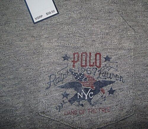 Men/'s $60 POLO-RALPH LAUREN Gray USA FLAG Pullover Jersey Hooded T-Shirt XXL
