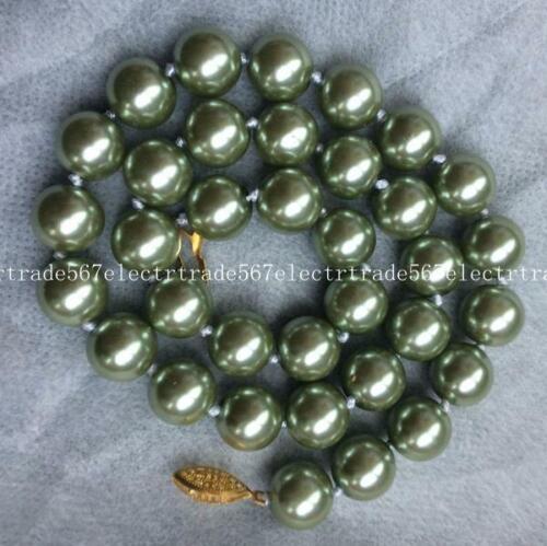 "Nice 12 mm Grenn SOUTH SEA PEARL shell Perles Collier 18/"""