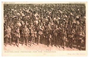 Antique-military-WW1-postcard-Australians-parading-for-the-trenches-soldiers