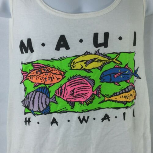 Lawai Island Trolling Tank Top Vintage 90s Marlin Hawaii Blue Water Game Fish Made In USA Mens Size Medium